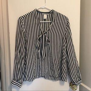H&M striped black & white blouse